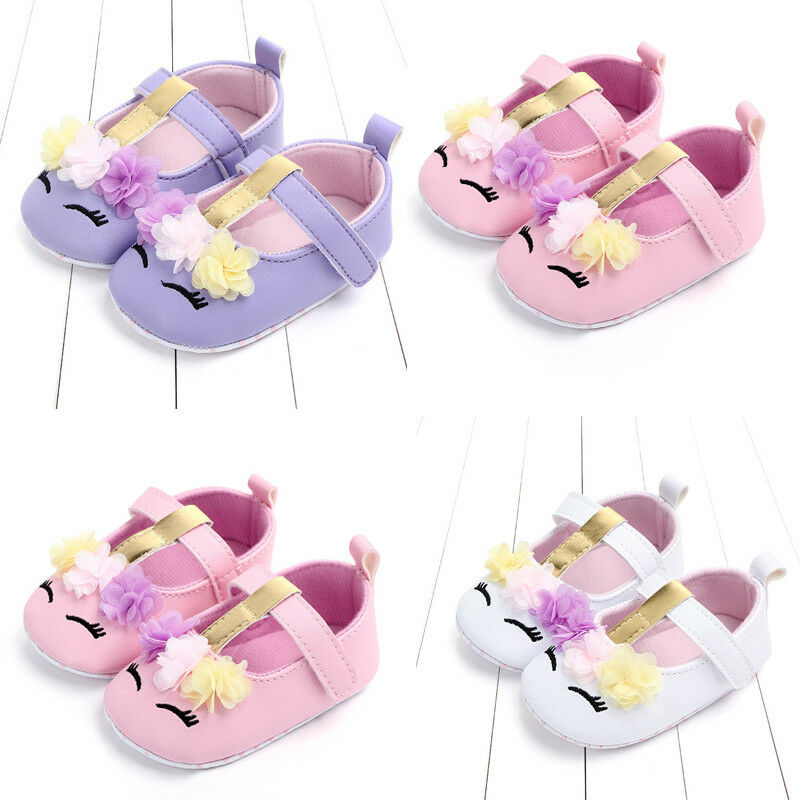 2019 Brand New Toddler Baby Infant Girls Flower Unicorn Shoes First Walkers PU Leather Shoes Soft Sole Crib Shoes 0-18M