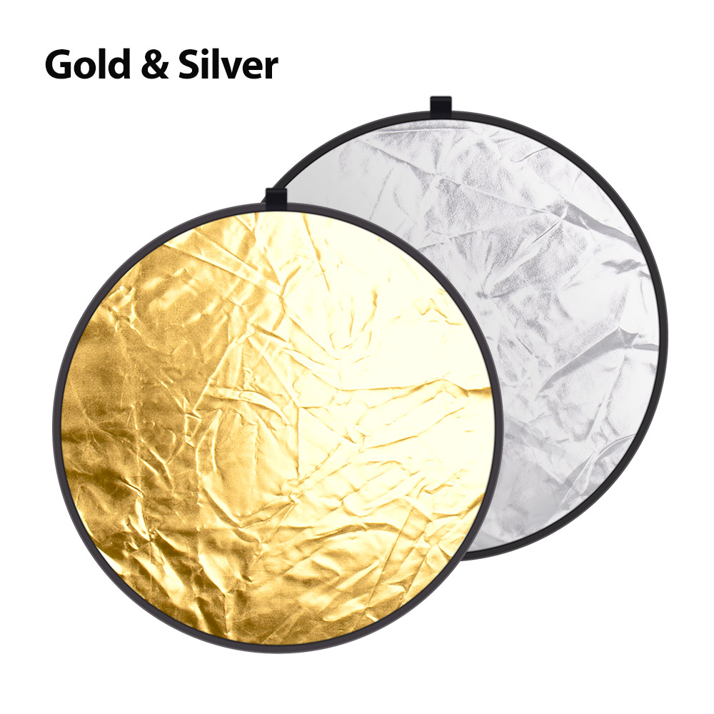 cheapest Yizhestudio 24inch 60cm 5 in 1 Reflector Collapsible light round Multi Photography Studio Flash Diffuers Gold Silver White Black