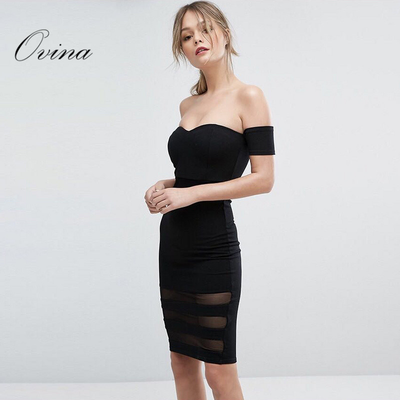 Black High Quality Off The Shoulder Slash Neck Cap Sleeve Above Knee Bandage Dress Night Party Dress Elegant And Graceful