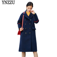 Brand 2017 New Autumn Winter Women Wool Blends Coat Navy Casual Double Breasted Pockets Female Woolen Coat High Quality AO419