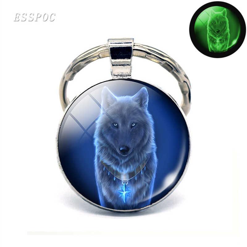 Brilhando No Escuro Da Cabeça do Lobo Homens Chaveiro de Vidro Cabochão Jóias Pingente de Chave Chave Anéis Da Cadeia Lobo Uivando Lobo Luminosa