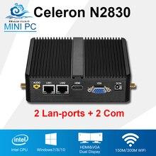 Мини-ПК интал Celeron N2830 Dual Core 2 LAN 2 com Окна 10/8/7 Linux мини промышленный компьютер 2 * RJ45 2 * RS232 безвентиляторный Настольный