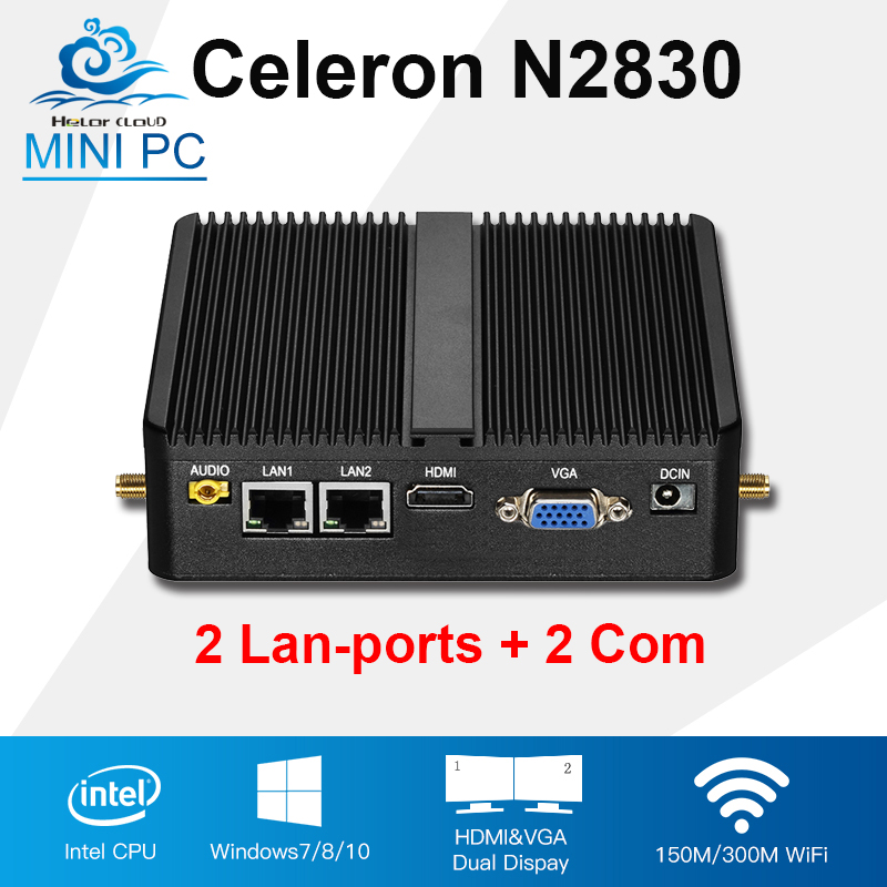 Mini PC Intel Celeron N2830 N2810 Dual Core 2 Lan 2 Com Windows 10 Linux Mini Industrial Computer 2*RJ45 2*RS232 Fanless Desktop celeron j1900 mini pc intel dual lan core win7 linux windows desktop thin client micro computer mini pcs with ram 4g ssd 64g