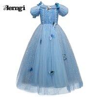 Nueva Niña Anna Elsa Princesa Cenicienta Vestido de Lentejuelas de Alta Calidad de Lujo ropa de niños Para El Traje Del Partido Reina de la Nieve Cosplay