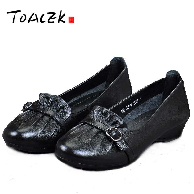 Automne Femmes Plat Souple Travail De Noir À Cuir Confortable Chaussures Et D'âge En Moyen gris Semelle Printemps Unique 8I5ZP