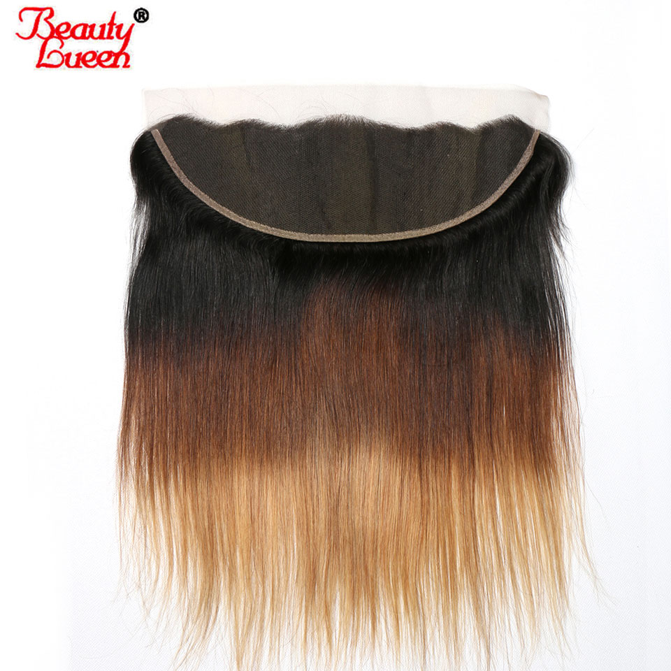 Ombre Brazilian Hair Straight Frontal 13x4 1B 4 27 Lace Frontal Closure Pre Plucked Non Remy
