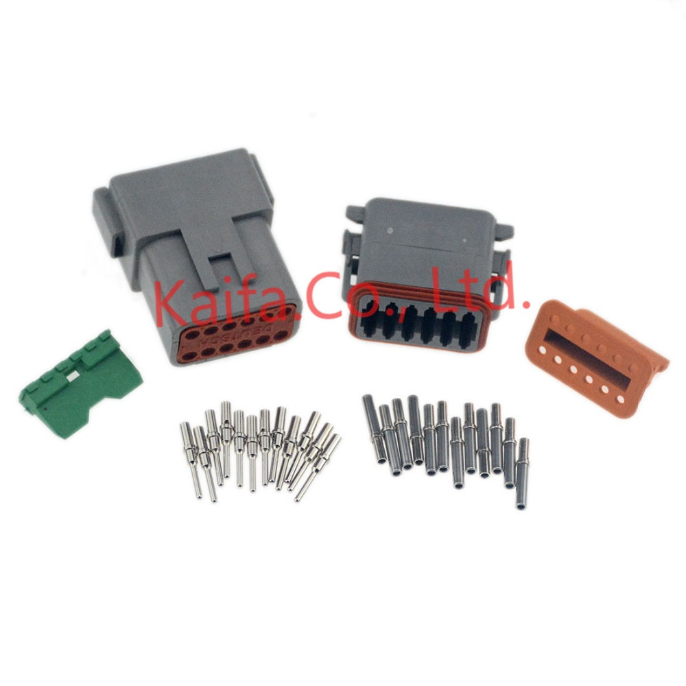 10sets Deutsch 2 Pin Waterproof Electrical Wire Connector Plug DT06-2S 16-18 GA