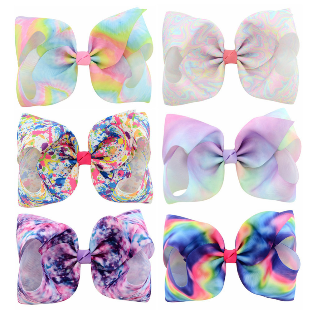 """6Pcs 8/"""" Large Bows Grosgrain Ribbon Hair Bows Alligator Clips for Girls Toddlers"""