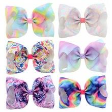 6Pcs/Lot Jojo Siwa Hair Bow Handmade Rainbow Large 8Inch Ribbon Bows With Alligator Clip Headwear headband for kids