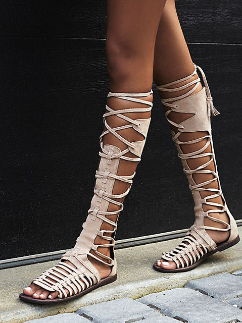 2b4d5f2128c7fd Rome Style Lace-up Flat Sandals Boots Women Summer Flat Shoes Cross Strap  Cut-out Gladiator Sandals Boots Fringe Srping Shoes