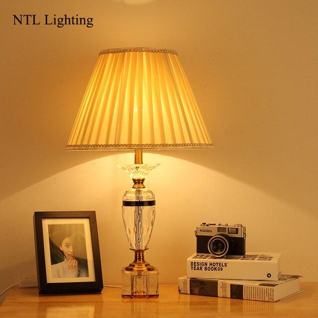 Neue Moderne LED Tischleuchten Kristall Schreibtisch Stoff Lampe Dekoration  Durch 2 Kanal Für Wohnzimmer, Schlafzimmer
