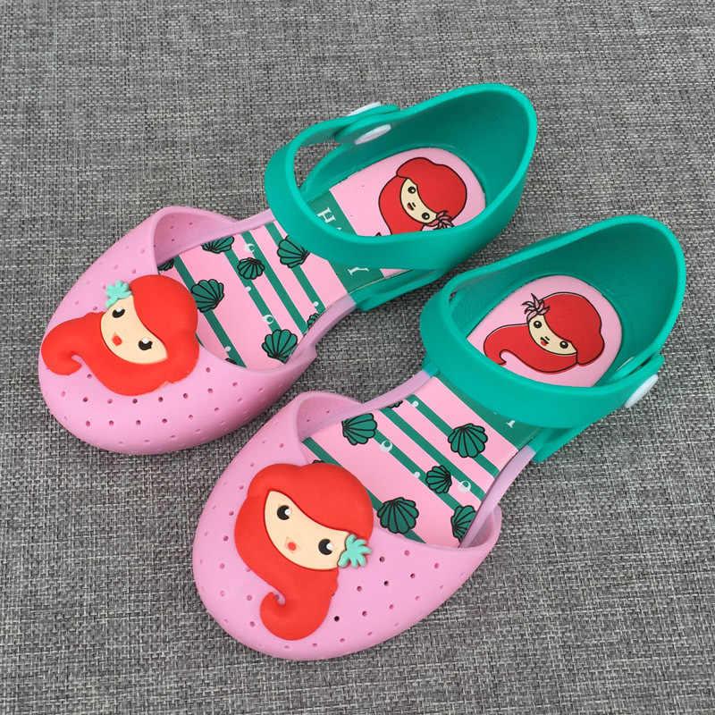 8dcf0027edee4 14-16.5cm Brazil Mermaid girls sandals jelly baby girl cartoon princess  slippers female child