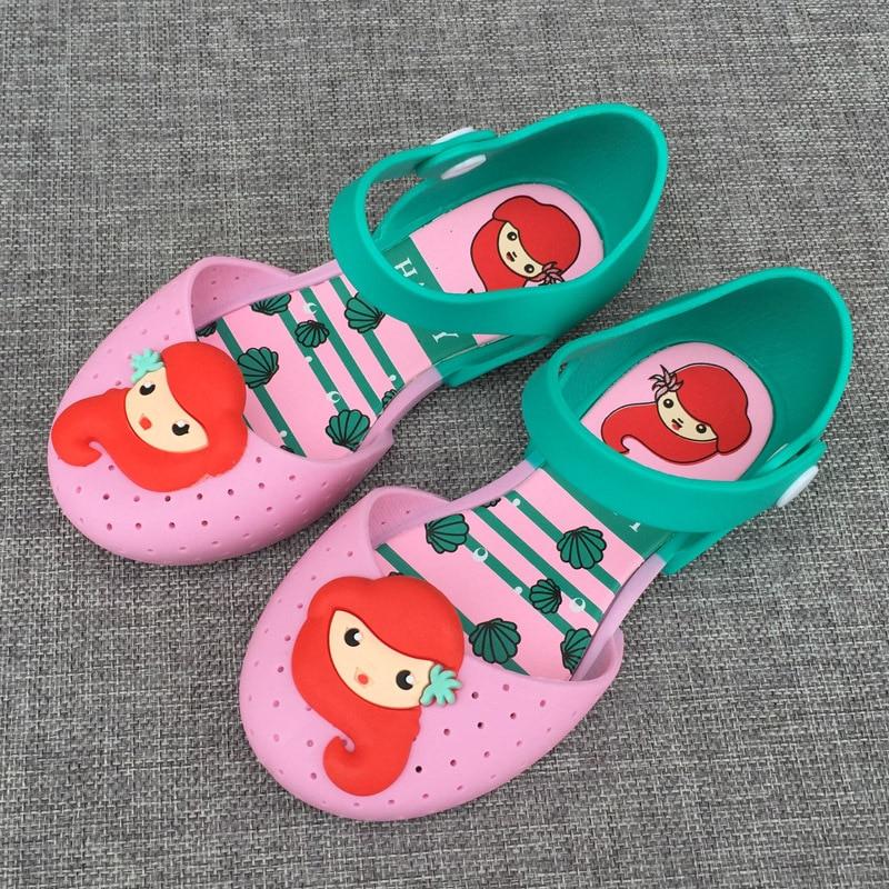 14-16.5cm Brazil Mermaid girls sandals jelly baby girl cartoon princess slippers female child garden shoes summer clogs cute