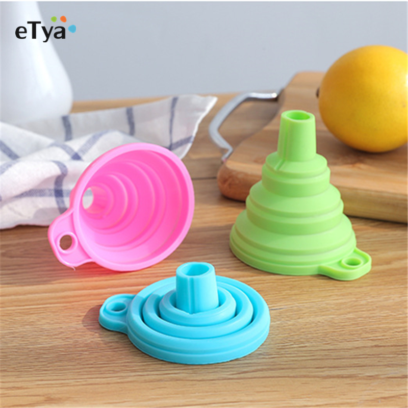 1pcs Mini Foldable Funnel Silicone Collapsible Funnel Folding Portable Funnels Be Hung Household Liquid Dispensing Kitchen Tools(China)