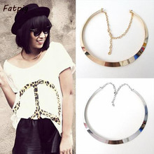 1pcs Retro Fashion Curved Mirrored Metal Collar Bib Choker Necklace Gold/Silver Free ShippingFree Shipping