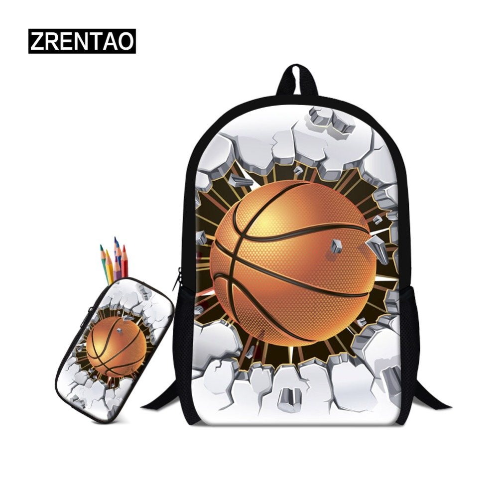ZRENTAO 3D cartoon mochilas 2PCS\set school backpack with pencil case rugzak boys girls double shoulder book bags travel bags