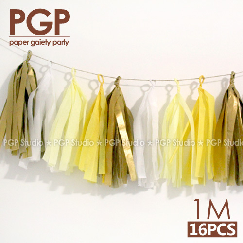 Pgp Yellow Light White Gold Tissue Paper Tassel Garland 100cm