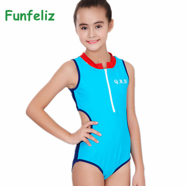 dc455297e6bbc Funfeliz 2018 Girls Sport Swimsuit 8-15Y one-piece swimwear for Kids  Swimming Suit