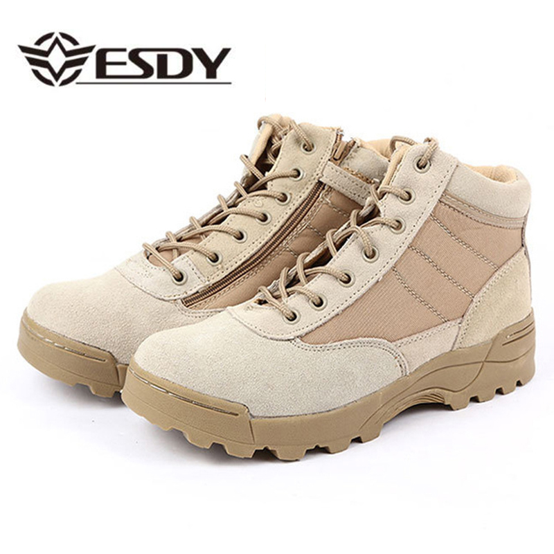 Esdy Summer Desert Tactical Boots Military Combat  Hiking Black Ankle Boots Men Shoes Work Army Boots Zapatillas Botas Plus Size