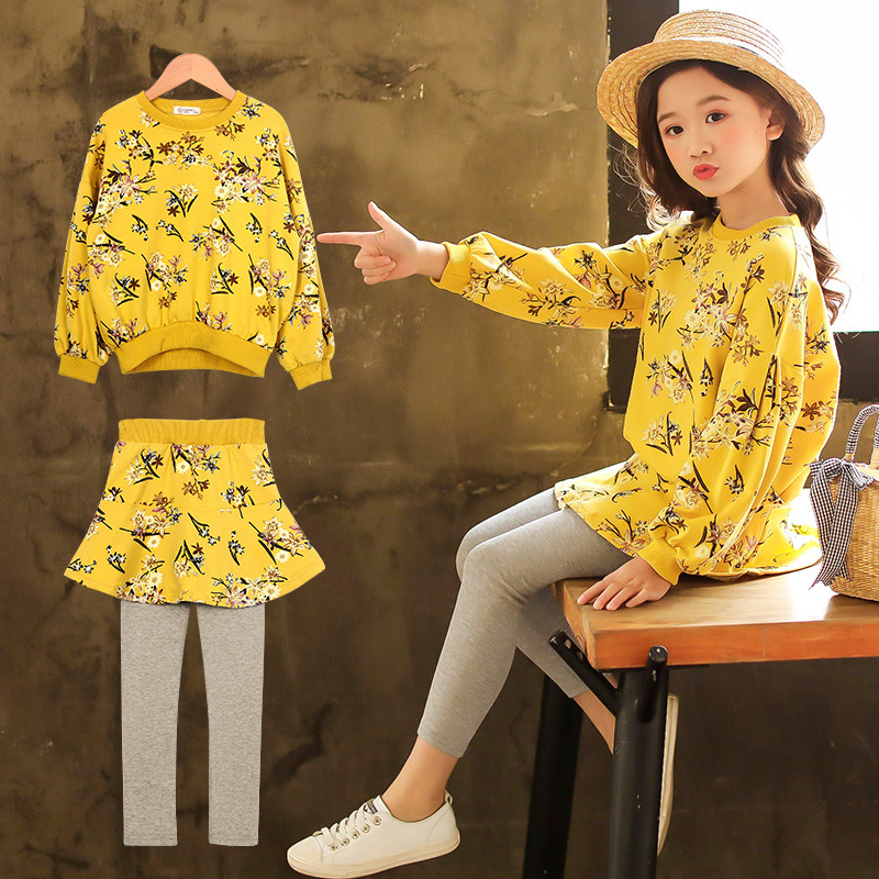Girls Clothing Sets 2018 new Long sleeve Children Clothing cotton O-neck Baby clothes+pants Children's suit Baby Girl Clothes 2017 new fall mustard yellow children sets ruffle butterfly sleeves infants clothing baby girl nursing accessory apparel
