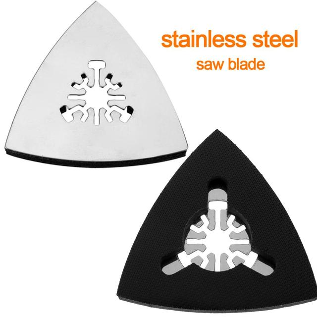 1PC 80mm Stainless Steel Triangle Sand Tray Shaped Polishing Waste Sanding Pad Saw Blade