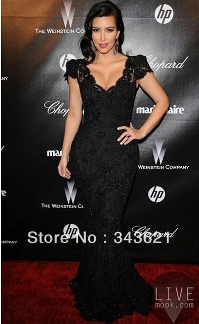 13079 Kim Kardashian Mermaidtrumpet Black Lace Cap Sleeve Long Evening Celebrity Dress Rc 54 En Vestidos Inspirados En Famosos De Bodas Y Eventos