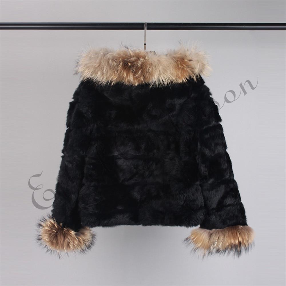 piel piel mapache de Abrigo Real de con de conejo Blog capucha de C5cvFq8U