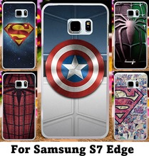 Hard Plastic and Soft TPU Cover for Samsung Galaxy S7 Edge G935A Cases SupermanSpider ManCaptain AmericaRadiation Phone Skins