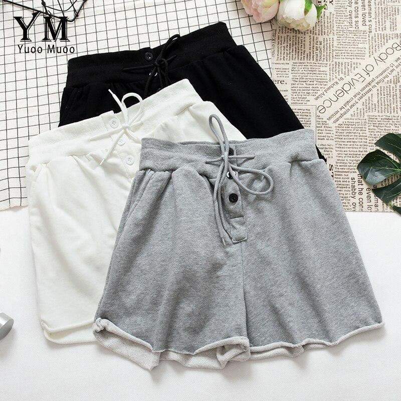 YuooMuoo 2019 Summer Women's Home Casual Elastic Waist Cotton Shorts Soft Drawstring Buttons Shorts Feminino Ladies Mini Shorts