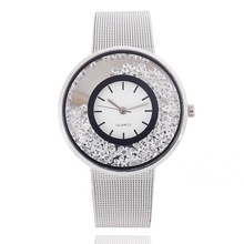 купить New Fashion Brand Luxury Watch Women Rhinestone Watches Stainless Steel Mesh Band Quartz Watches Clock Gift Relogio feminino по цене 93.79 рублей