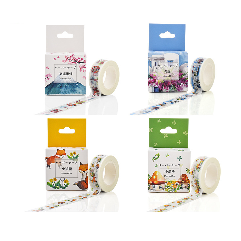 1 PCS Creative Little Fox Decorative Washi Tape Diy Scrapbooking Masking Tape School Office Supply Escolar Papelaria 10m*15mm 1 5cm 7m flowers fox steamer mushroom decorative washi tape scotch diy scrapbooking masking craft tape school office supply