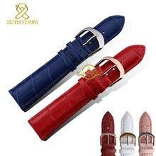 Pasek ze skóry naturalnej zegarek damski modna bransoletka watchband na rękę zespół multicolor 12 14 16 18 20mm różowy niebieski kolor czerwony