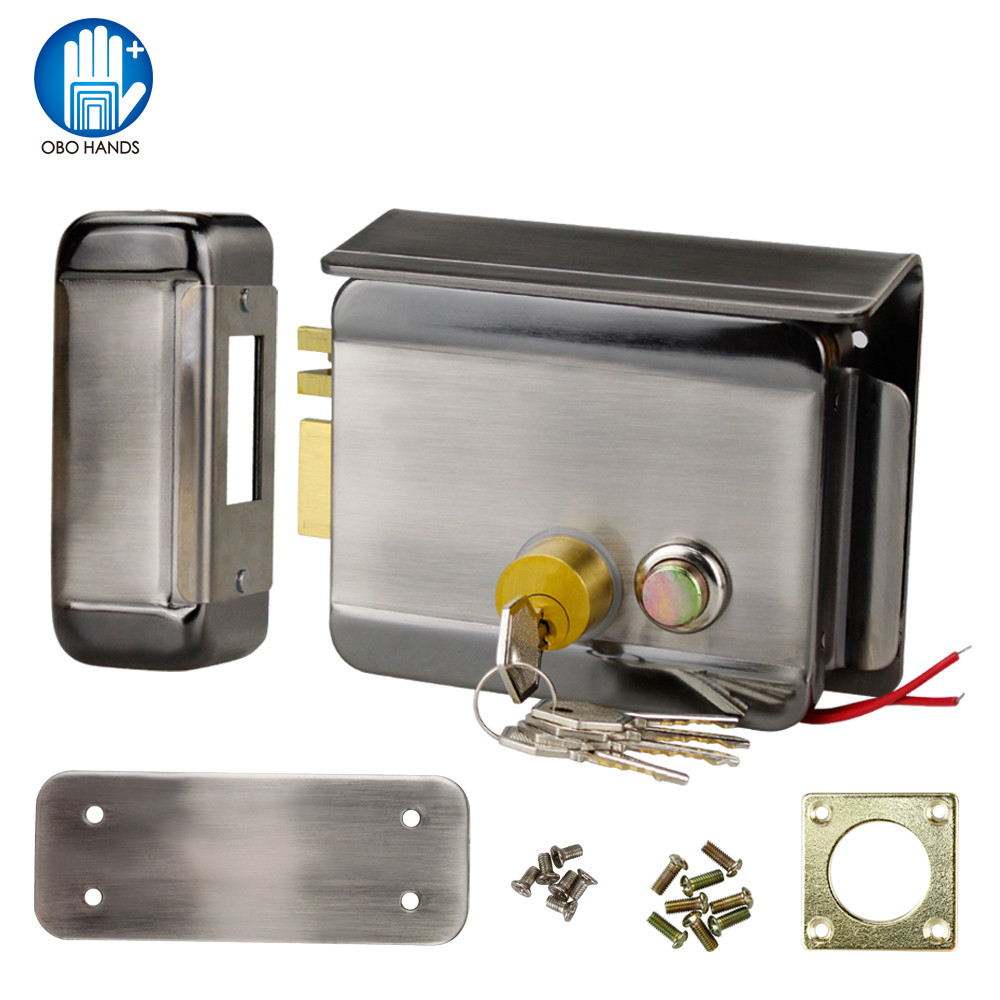 Waterproof Electric Electronic Control Lock Motor Door Lock for Access Control Video Door Phone System with Keys Unlock Button t handle vending machine pop up tubular cylinder lock w 3 keys vendo vending machine lock serving coffee drink and so on