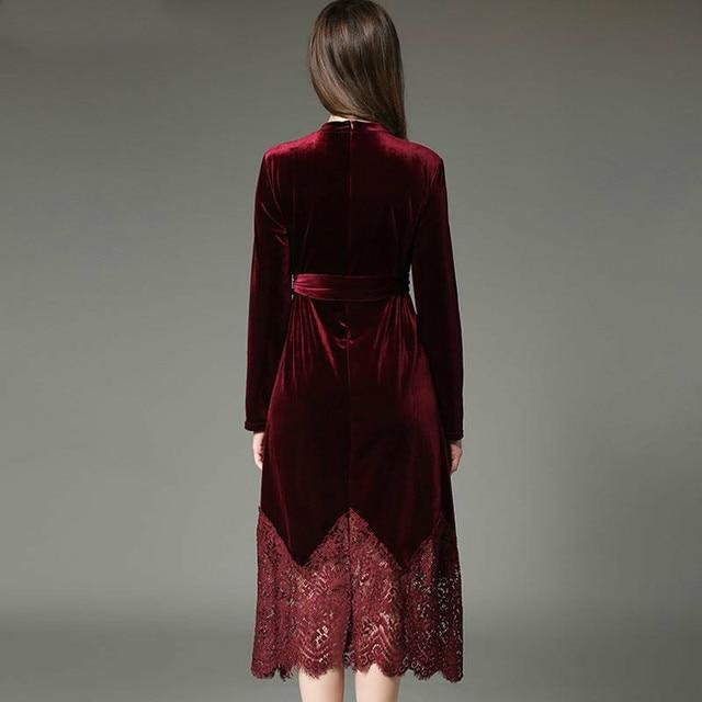Autumn Winter Velvet Lace Stitching Long Elegant Robe Dress 1