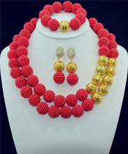 Accessories Wedding African Beads New Jewelry Sets 18 K Gold Plated Crystal Vintage Costume Earring Bracelet Necklace Set