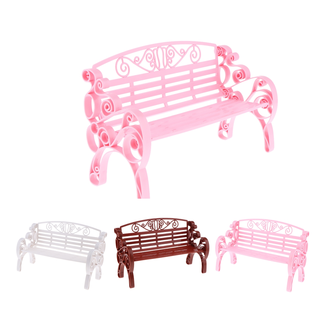 1//6 Miniature Dollhouse Exquisite Wooden Carved Bench Garden DIY Gift Pink