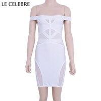 LE CELEBRE Slash Cou Patch Travail Bandage Robes 2017 Blanc Noir Court Robes de Soirée Élastique Sexy Femmes Robes Robes