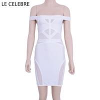 LE CELEBRE Slash Neck Patch Work Bandage Dresses 2018 White Black Short Party Dresses Elastic Sexy Women Dresses Vestidos
