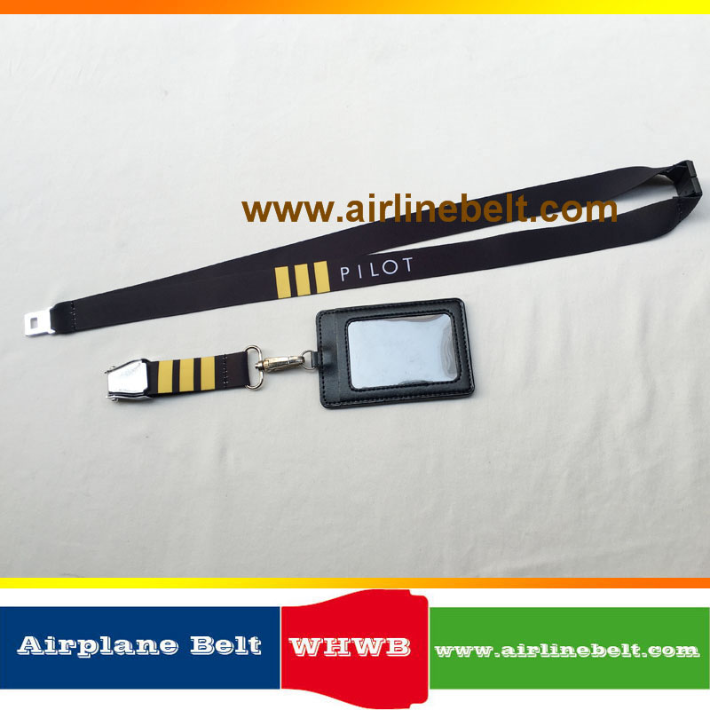 682c55932c04dc Airline Aircraft Airplane Seat Belt Buckle Pilot Lanyard with Aviator Flyer  Airman Crew's ID Card Holder