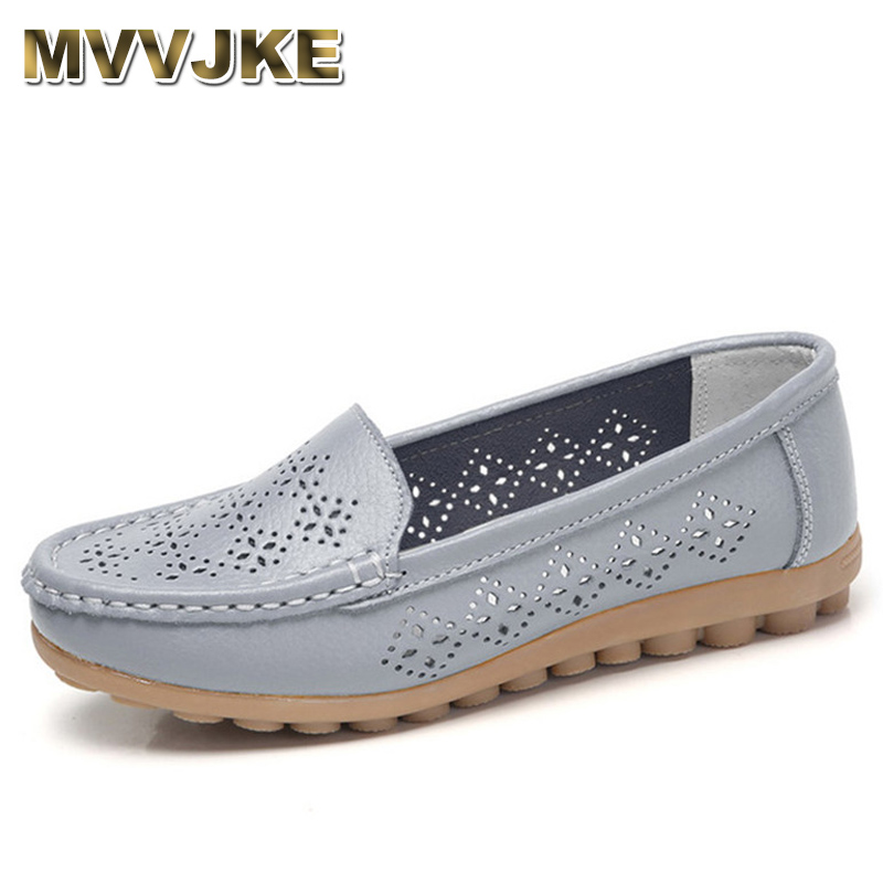 MVVJKE 2018 Summer Women Flats Shoes Women Ballet Genuine Leather Slip On Round Toe Comfortable Loafers Women Casual Footwear цена
