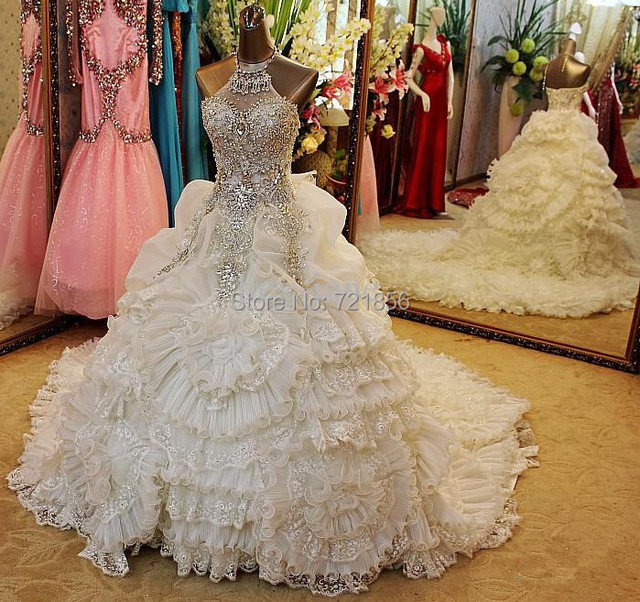d1ee156f012d 2015 Luxury Wedding Dresses With Diamonds and Crystals Plus Size Princess  White Big Wedding Dresses With Flowers Free Shipping