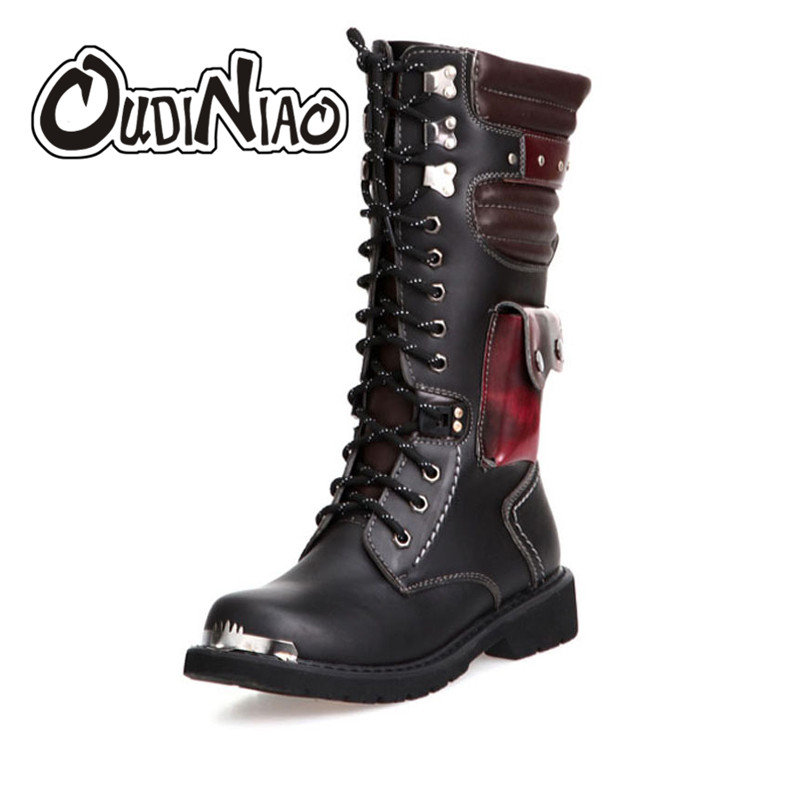 OUDINIAO Shoes Men Buckle Lace Up High Combat Boots Spring Fashion 2018 Mens Shoes British Metal Military Motorcycle Boots 34 cm