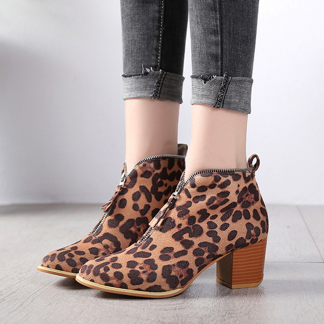 New Hot Damens Autumn Winter Solid Ankle Ankle Ankle Stiefel Pointed Toe Flock ... 899996