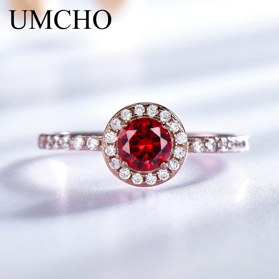 UMCHO Red Garnet Gemstone Solid 925 Sterling Sølv Ring Birthstone Gaveringe til kvinder Trendy Classic Engagement Wedding Gift