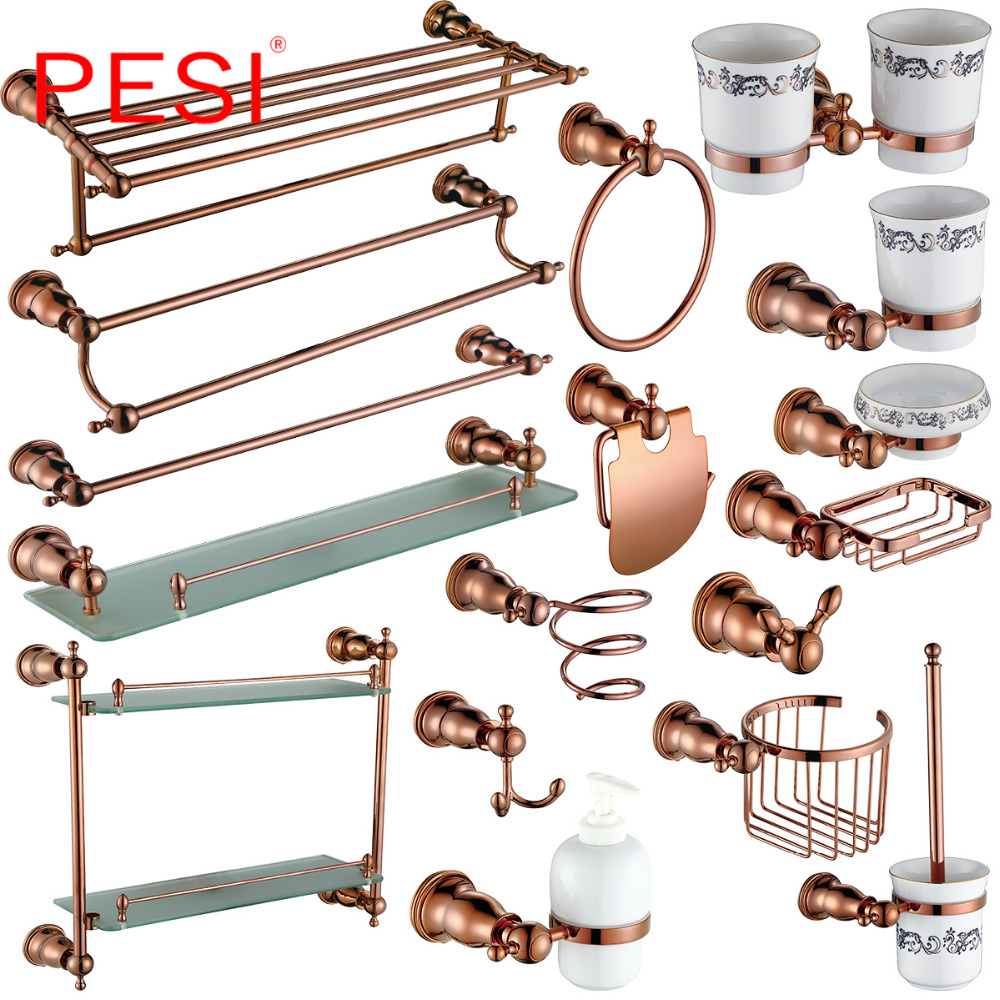 Bathroom Accessories Hardware Set Robe Coat Hook Towel Rail Rack Bar Shelf Toilet Paper Tissue Toothbrush Holder, Rose Gold. image