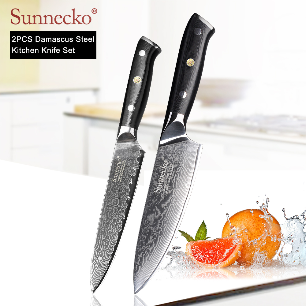 SUNNECKO 2PCS Kitchen Knives Set 6.5'' Chef 5'' Utility Knife Damascus Japanese VG10 Steel Blade Cut Cooking Knives G10 Handle