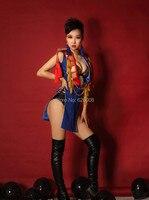 Gece bar Şarkıcısı DS Sahne Kostümleri Büyük Sac Püsküller Çin Rüzgar Yıldız Fan Kostümleri