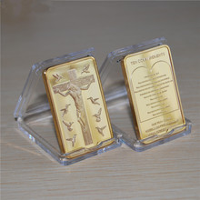 1 OUNCE GOLD Plated BAR, JESUS CHRIST Ten Commandments BULLION Bar souvenir Coins gifts, High quality free shipping 1PCS