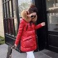 Высокое Качество женщин пуховик меховой капюшон куртка зимняя куртка женщин длинные толстые зимнее пальто женский верхняя одежда теплые пальто Q302