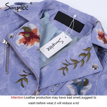 Simplee Embroidery floral faux leather jacket White basic jackets outerwear coats Women casual autumn winter jacket female coat 5